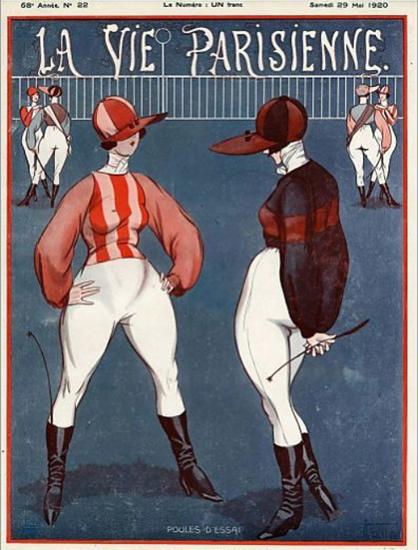 Roaring 1920s La Vie Parisienne 1920 Poules D Essai   Roaring 1920s Ad Art and Magazine Cover Art