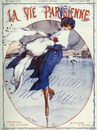 Roaring 1920s La Vie Parisienne 1920 Reflexions Sur La Glace | Roaring 1920s Ad Art and Magazine Cover Art