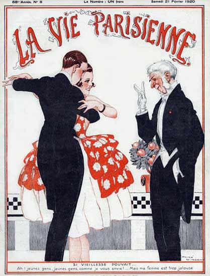 Roaring 1920s La Vie Parisienne 1920 Si Vieillesse Pouvait | Roaring 1920s Ad Art and Magazine Cover Art