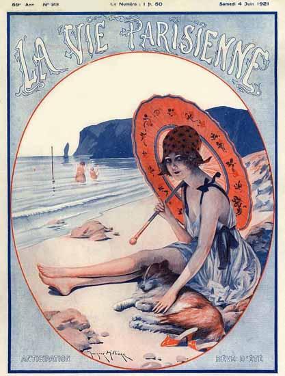 Roaring 1920s La Vie Parisienne 1921 Anticipation Reve D Ete | Roaring 1920s Ad Art and Magazine Cover Art