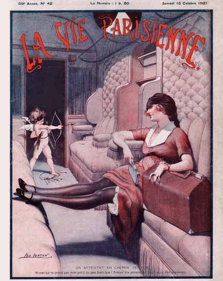 Roaring 1920s La Vie Parisienne 1921 Attentat En Chemin De Fer | Roaring 1920s Ad Art and Magazine Cover Art