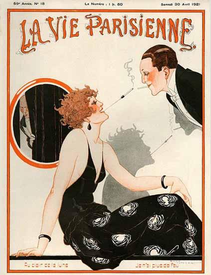 Roaring 1920s La Vie Parisienne 1921 Au Clair De La Lune | Roaring 1920s Ad Art and Magazine Cover Art