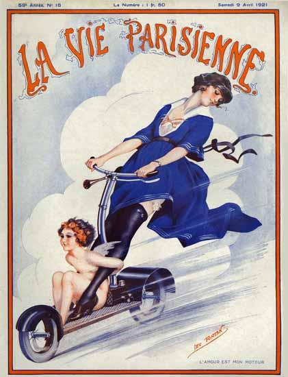Roaring 1920s La Vie Parisienne 1921 L Amour Est Mon Moteur | Roaring 1920s Ad Art and Magazine Cover Art