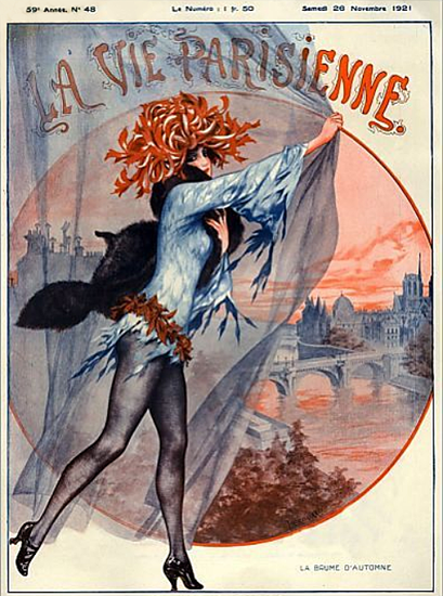 Roaring 1920s La Vie Parisienne 1921 La Baume D Automne | Roaring 1920s Ad Art and Magazine Cover Art