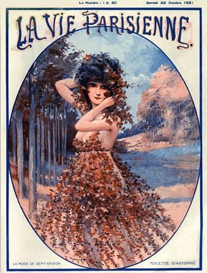 Roaring 1920s La Vie Parisienne 1921 La Mode De Demi-Saison | Roaring 1920s Ad Art and Magazine Cover Art