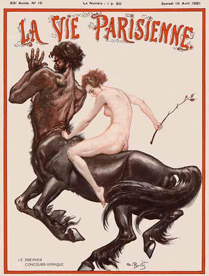 Roaring 1920s La Vie Parisienne 1921 La Premier Concours Hippique | Roaring 1920s Ad Art and Magazine Cover Art