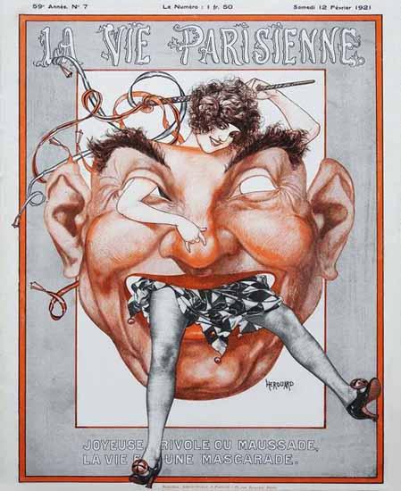 Roaring 1920s La Vie Parisienne 1921 La Vie Est Une Mascarade | Roaring 1920s Ad Art and Magazine Cover Art