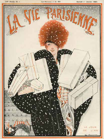 Roaring 1920s La Vie Parisienne 1921 Le Jour De L An | Roaring 1920s Ad Art and Magazine Cover Art