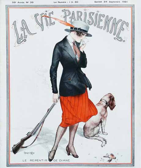 Roaring 1920s La Vie Parisienne 1921 Le Repentir De Diane | Roaring 1920s Ad Art and Magazine Cover Art