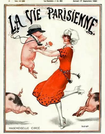 Roaring 1920s La Vie Parisienne 1921 Mademoiselle Circe | Roaring 1920s Ad Art and Magazine Cover Art