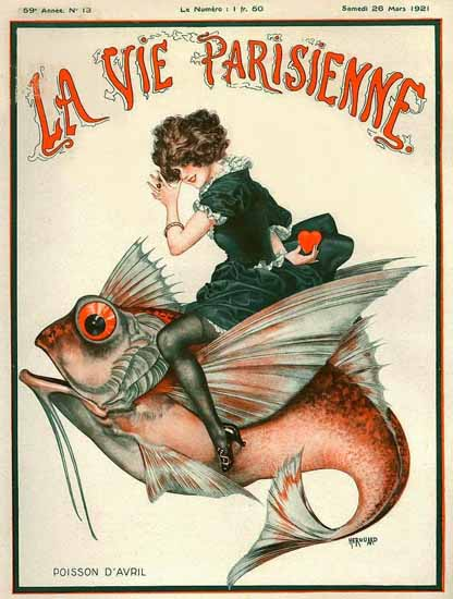 Roaring 1920s La Vie Parisienne 1921 Poisson D Avril | Roaring 1920s Ad Art and Magazine Cover Art