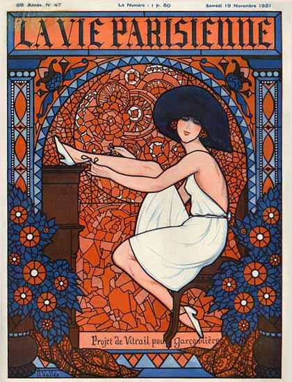 Roaring 1920s La Vie Parisienne 1921 Projet De Vitrail | Roaring 1920s Ad Art and Magazine Cover Art