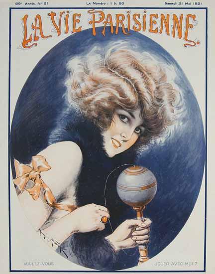 Roaring 1920s La Vie Parisienne 1921 Voulez-Vous Jouer Avec Moi | Roaring 1920s Ad Art and Magazine Cover Art