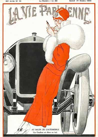 Roaring 1920s La Vie Parisienne 1922 Au Salon De L Automobile | Roaring 1920s Ad Art and Magazine Cover Art