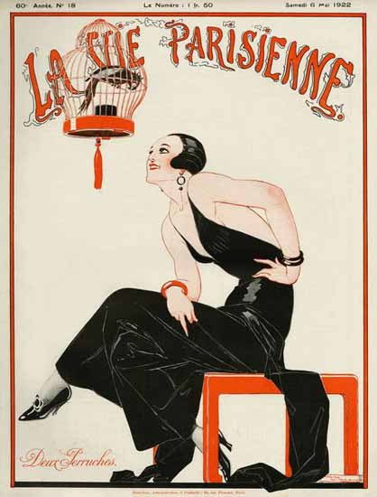 Roaring 1920s La Vie Parisienne 1922 Deux Perruches | Roaring 1920s Ad Art and Magazine Cover Art