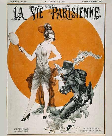 Roaring 1920s La Vie Parisienne 1922 L Eternelle Mascarade | Roaring 1920s Ad Art and Magazine Cover Art