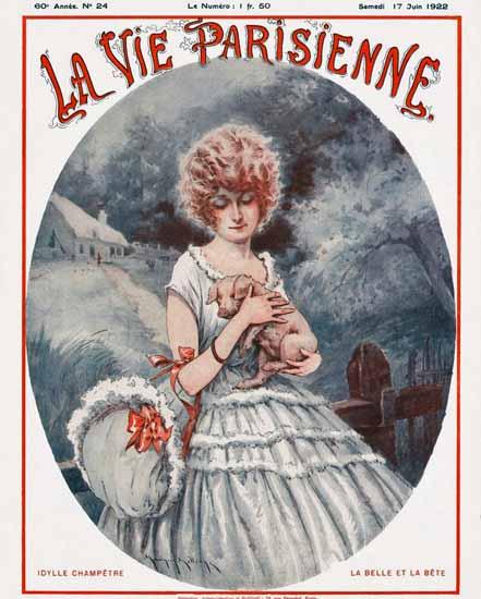 Roaring 1920s La Vie Parisienne 1922 La Belle Et La Bete | Roaring 1920s Ad Art and Magazine Cover Art