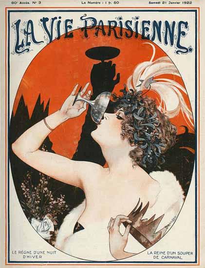 Roaring 1920s La Vie Parisienne 1922 La Reine De Carnaval | Roaring 1920s Ad Art and Magazine Cover Art