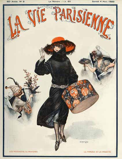 Roaring 1920s La Vie Parisienne 1922 Le Mimosa Et La Violette | Roaring 1920s Ad Art and Magazine Cover Art