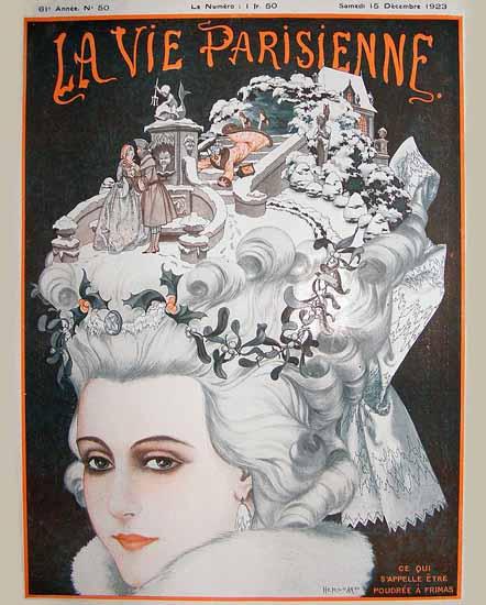 Roaring 1920s La Vie Parisienne 1923 Etre Poudree A Frimas | Roaring 1920s Ad Art and Magazine Cover Art