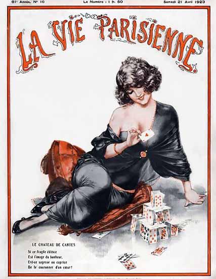 Roaring 1920s La Vie Parisienne 1923 Le Chateau De Cartes | Roaring 1920s Ad Art and Magazine Cover Art