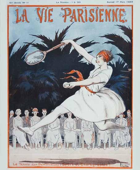 Roaring 1920s La Vie Parisienne 1923 Le Tennis Des Demoiselles | Roaring 1920s Ad Art and Magazine Cover Art