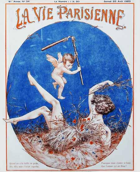 Roaring 1920s La Vie Parisienne 1923 Que L Amour Est Un Fleau | Roaring 1920s Ad Art and Magazine Cover Art