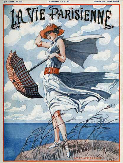 Roaring 1920s La Vie Parisienne 1923 Un Femme A La Mer | Roaring 1920s Ad Art and Magazine Cover Art
