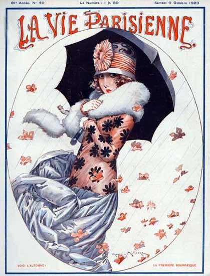 Roaring 1920s La Vie Parisienne 1923 Voici L Automne | Roaring 1920s Ad Art and Magazine Cover Art