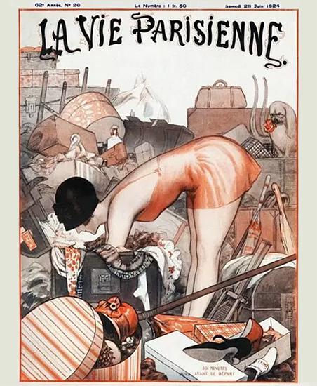 Roaring 1920s La Vie Parisienne 1924 30 Minutes Avant Le Depart | Roaring 1920s Ad Art and Magazine Cover Art