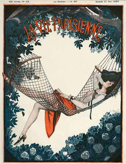 Roaring 1920s La Vie Parisienne 1924 Dans Le Hamac   Roaring 1920s Ad Art and Magazine Cover Art