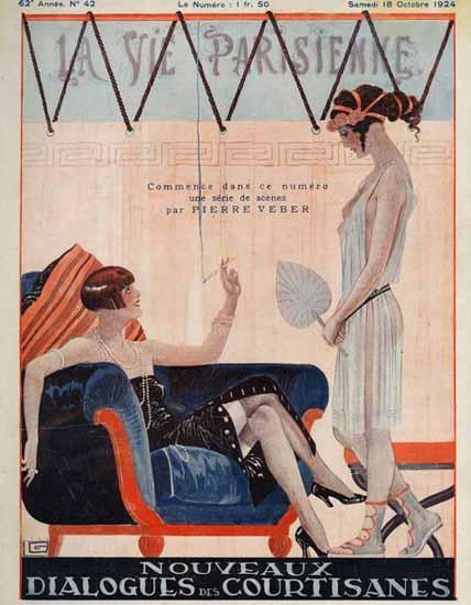 Roaring 1920s La Vie Parisienne 1924 Dialogues Des Courtisanes   Roaring 1920s Ad Art and Magazine Cover Art