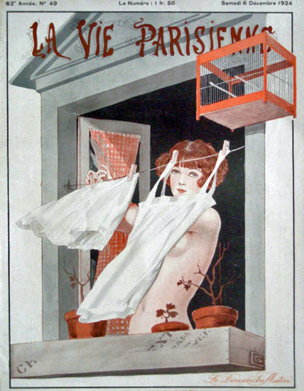 Roaring 1920s La Vie Parisienne 1924 Dimanche Matin Georges Leonnec | Roaring 1920s Ad Art and Magazine Cover Art