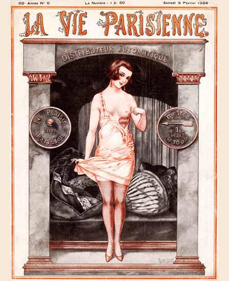 Roaring 1920s La Vie Parisienne 1924 Distributeur Automatique | Roaring 1920s Ad Art and Magazine Cover Art