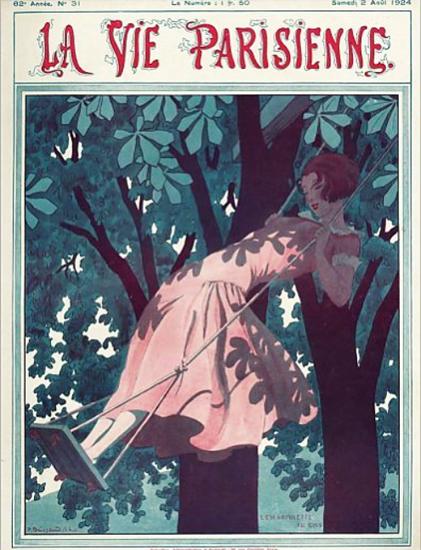 Roaring 1920s La Vie Parisienne 1924 L Escarpolette | Roaring 1920s Ad Art and Magazine Cover Art