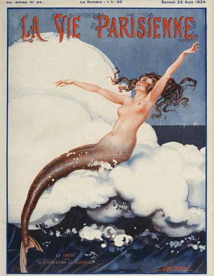 Roaring 1920s La Vie Parisienne 1924 La Sirene | Roaring 1920s Ad Art and Magazine Cover Art