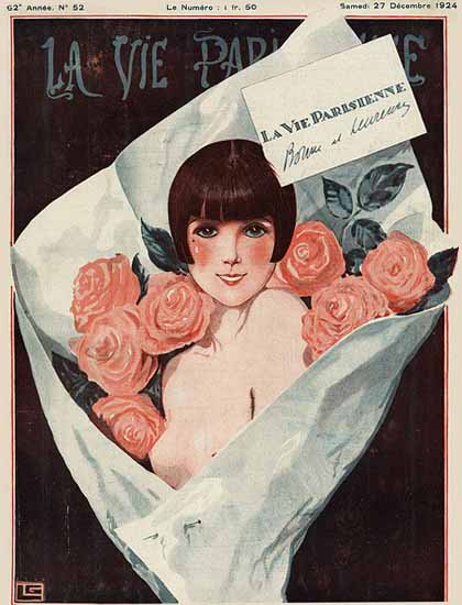 Roaring 1920s La Vie Parisienne 1924 Le Bouquet | Roaring 1920s Ad Art and Magazine Cover Art