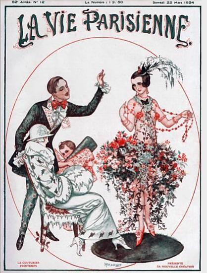 Roaring 1920s La Vie Parisienne 1924 Le Couturier Printemps | Roaring 1920s Ad Art and Magazine Cover Art