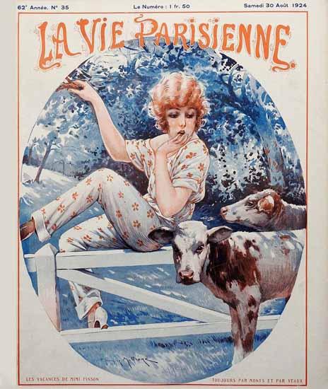 Roaring 1920s La Vie Parisienne 1924 Les Vacances De Mimi Pinson | Roaring 1920s Ad Art and Magazine Cover Art