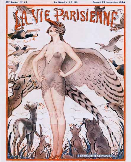 Roaring 1920s La Vie Parisienne 1924 Sa Majeste La Faisene | Roaring 1920s Ad Art and Magazine Cover Art