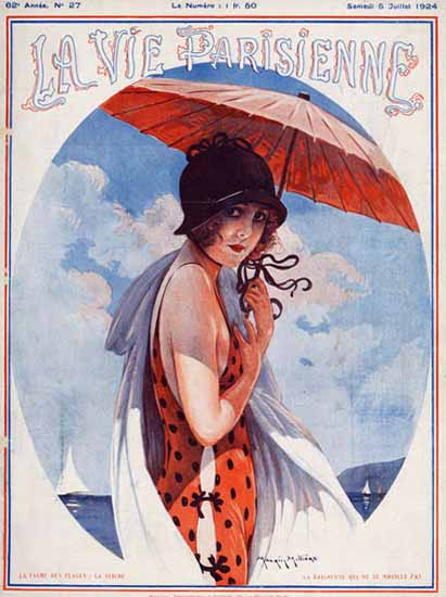 Roaring 1920s La Vie Parisienne 1924 Sur La Plage | Roaring 1920s Ad Art and Magazine Cover Art