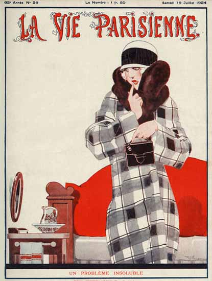 Roaring 1920s La Vie Parisienne 1924 Un Probleme Insoluble | Roaring 1920s Ad Art and Magazine Cover Art
