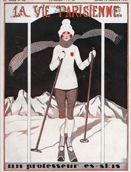 Roaring 1920s La Vie Parisienne 1924 Un Professeur Es-Skis | Roaring 1920s Ad Art and Magazine Cover Art