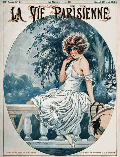 Roaring 1920s La Vie Parisienne 1924 Une Jolie Bouche | Roaring 1920s Ad Art and Magazine Cover Art