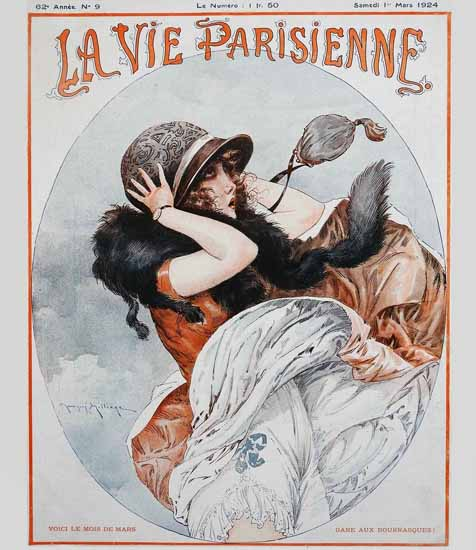 Roaring 1920s La Vie Parisienne 1924 Voici Le Mois Du Mars | Roaring 1920s Ad Art and Magazine Cover Art