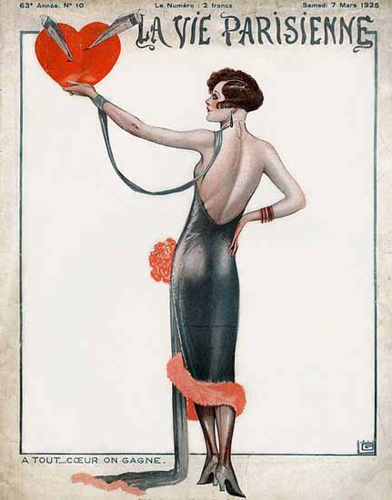 Roaring 1920s La Vie Parisienne 1925 A Tout Coeur On Gagne | Roaring 1920s Ad Art and Magazine Cover Art