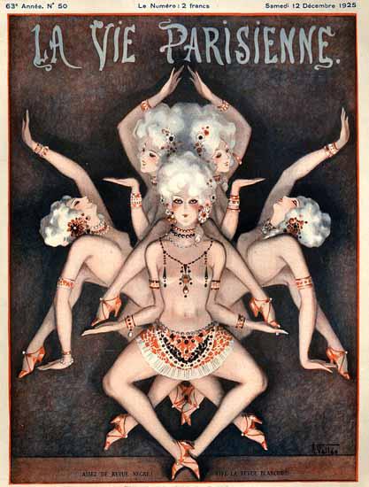 Roaring 1920s La Vie Parisienne 1925 Assez De Revue Negre   Roaring 1920s Ad Art and Magazine Cover Art