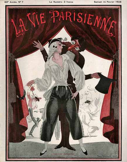 Roaring 1920s La Vie Parisienne 1925 Bas Les Masques | Roaring 1920s Ad Art and Magazine Cover Art