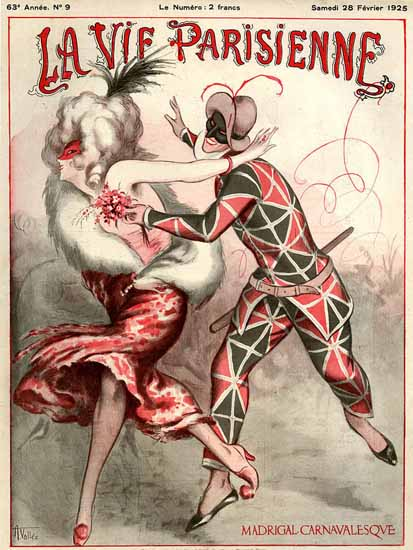 Roaring 1920s La Vie Parisienne 1925 Buffoon Madrigal Carnaval | Roaring 1920s Ad Art and Magazine Cover Art