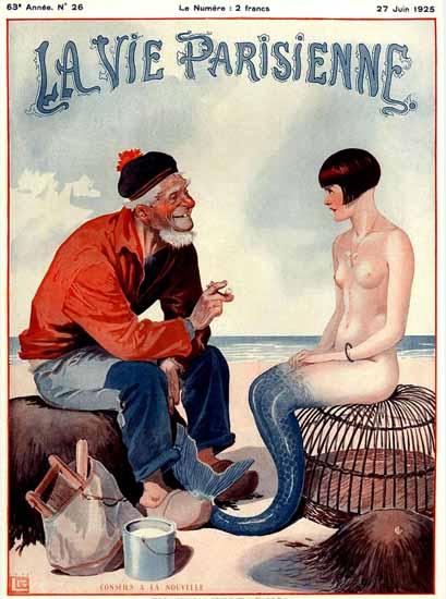 Roaring 1920s La Vie Parisienne 1925 Conseils A La Nouvelle | Roaring 1920s Ad Art and Magazine Cover Art
